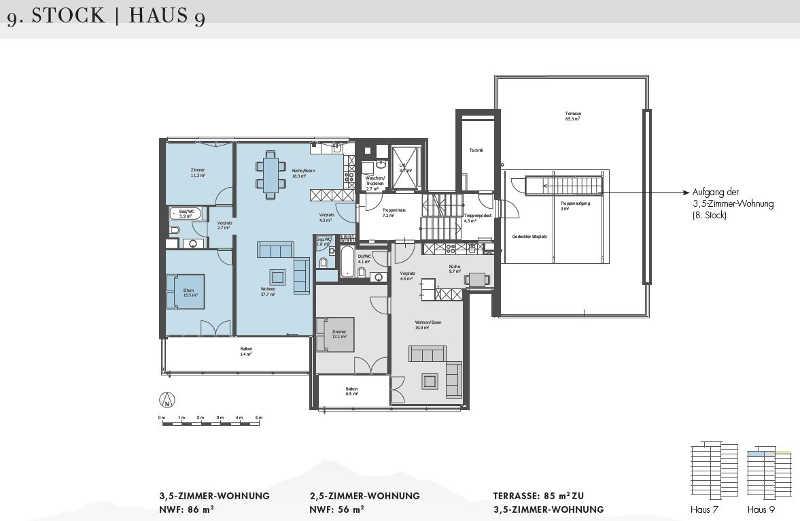 Wohnungsgrundriss (blau)